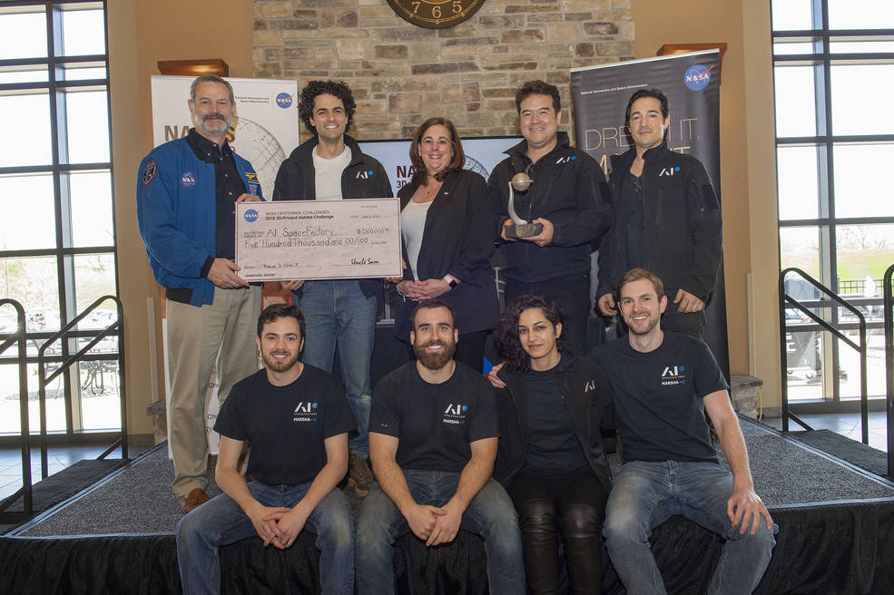 AI SpaceFactory of New York wins the final round of NASA's 3D - Printed Habitat Challenge, held at Caterpillar's Edwards Demonstration & Learning Center in Edwards, Illinois. Photo Credits: NASA/Emmett Given